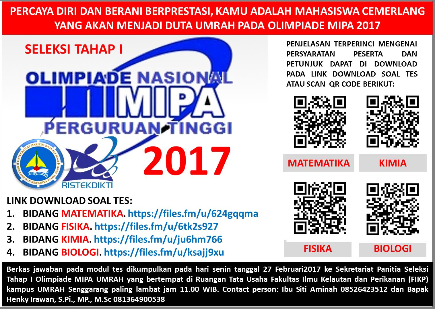 SELEKSI TAHAP I OLIMPIADE MIPA 2017